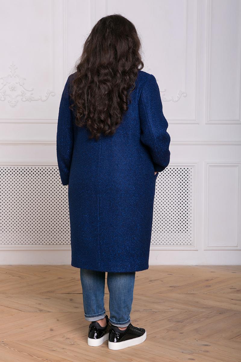 00-13035 Прямое пальто из букле МИРИАМ синее - Victorya-Shop.com