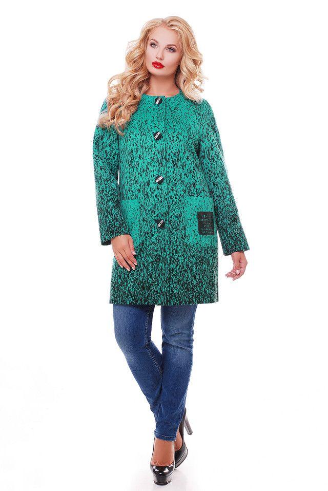 00-374Кашемировое пальто бирюза - Victorya-Shop.com