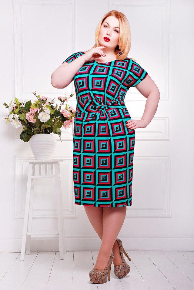 012470 Летнее платье большого размера Кора бирюза - Victorya-Shop.com