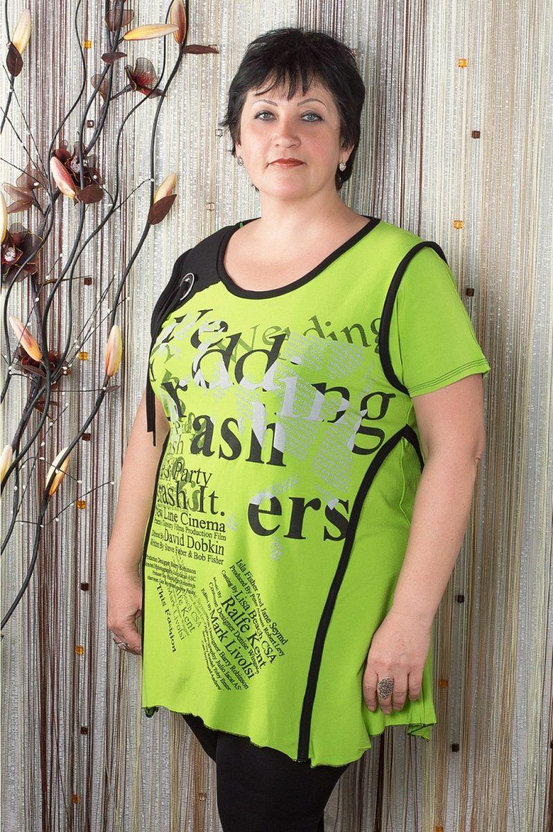 02112Туника большого размера пуговка(салат) - Victorya-Shop.com