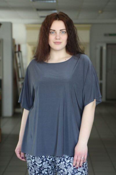 Блуза большого размера серый  000-491 - Victorya-Shop.com