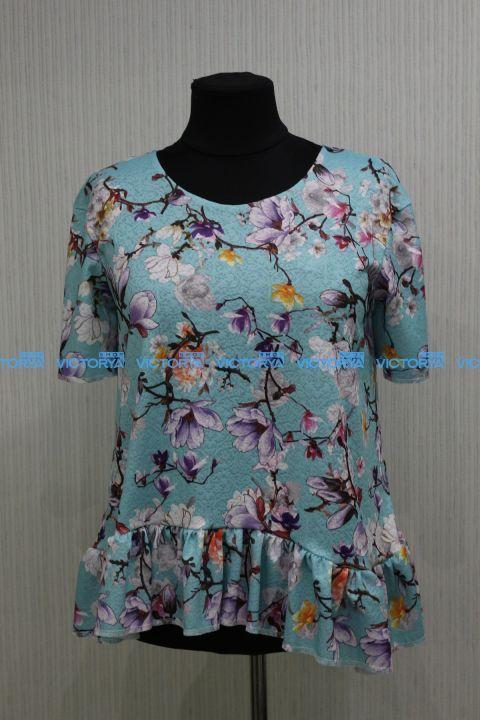 Блуза большого размера жакард 00-885 - Victorya-Shop.com