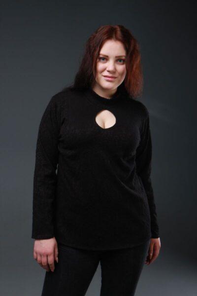Блуза-гольф большого размера флок черный 50-68рр 000-278 - Victorya-Shop.com