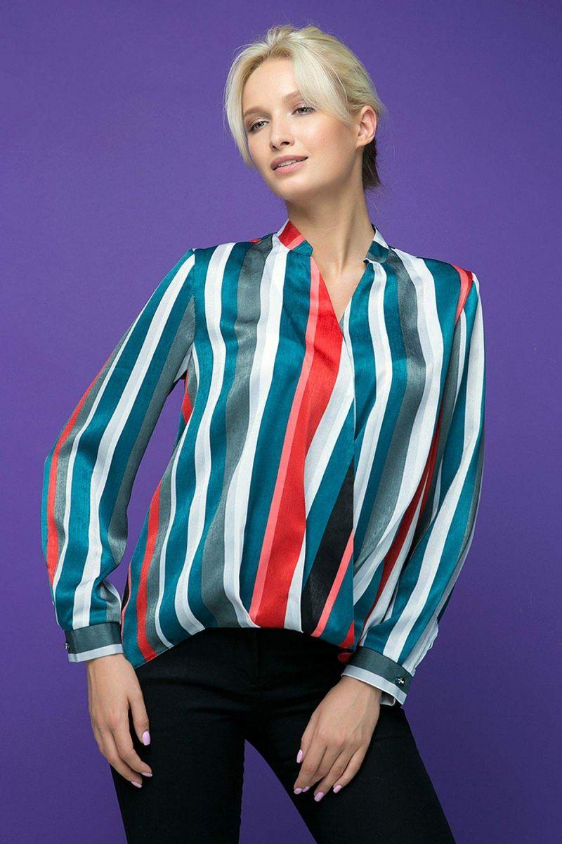 Блуза с запахом OLIVER голубая 00-13389 - Victorya-Shop.com