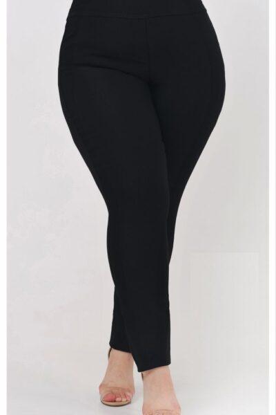 Брюки большого размера черный супер джерси  размеры 56-72 000-663 - Victorya-Shop.com