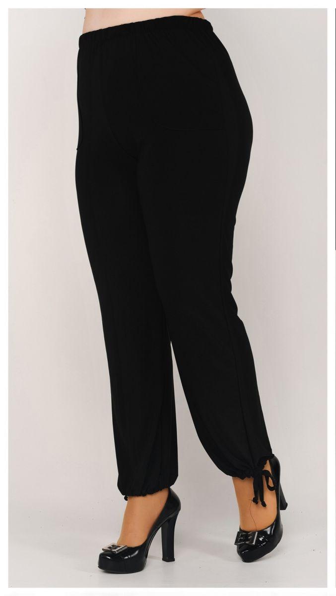 Брюки султанки на завязках женские большого размера модель доступна в цвете 000-512 - Victorya-Shop.com