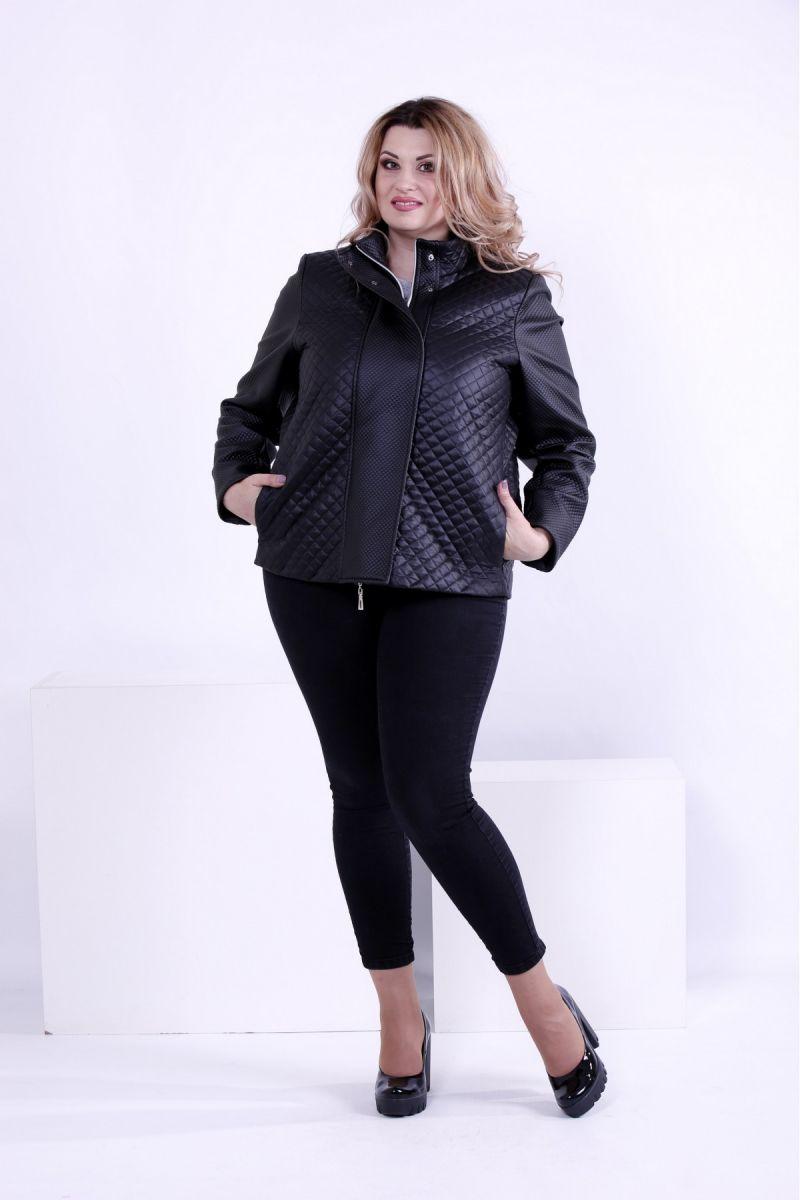 Черная стильная куртка со вставками из эко-кожи 00-133720 - Victorya-Shop.com