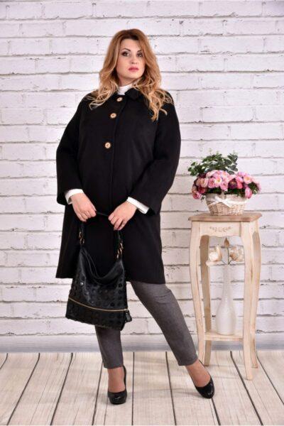 Черное пальто классического кроя 00-133730 - Victorya-Shop.com