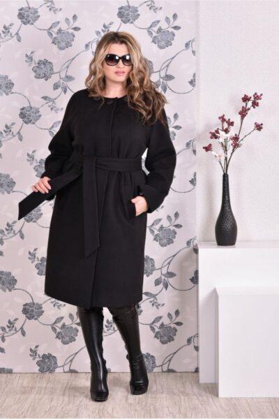 Черное пальто классического кроя 00-133732 - Victorya-Shop.com