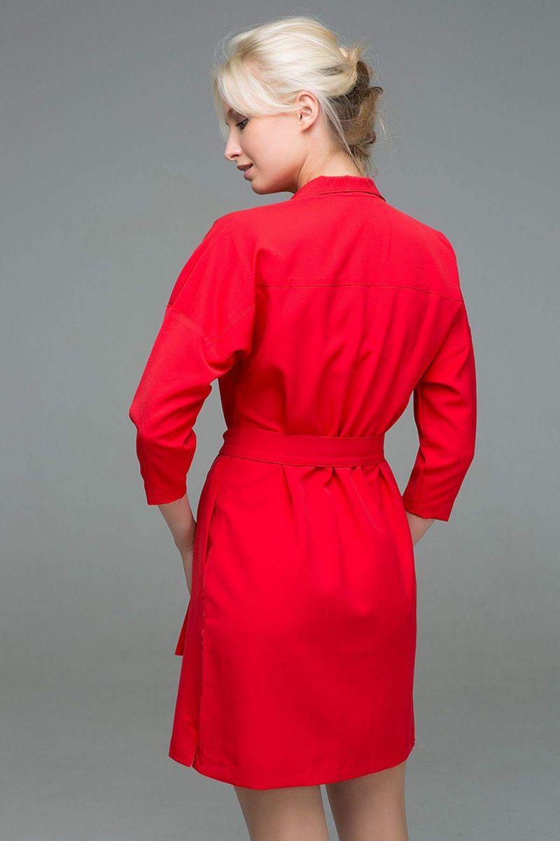 Двубортное платье на кнопках ERIKA красный 00-13379 - Victorya-Shop.com