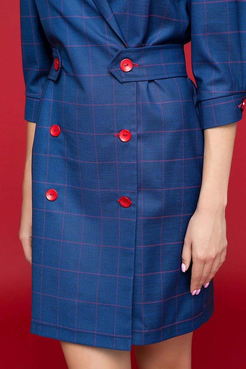 Двубортное платье на пуговицах ADA синее 00-13402 - Victorya-Shop.com