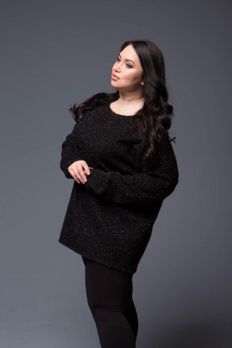 Джемпер женский для полных из трикотажа травка люрекс 000-696 - Victorya-Shop.com