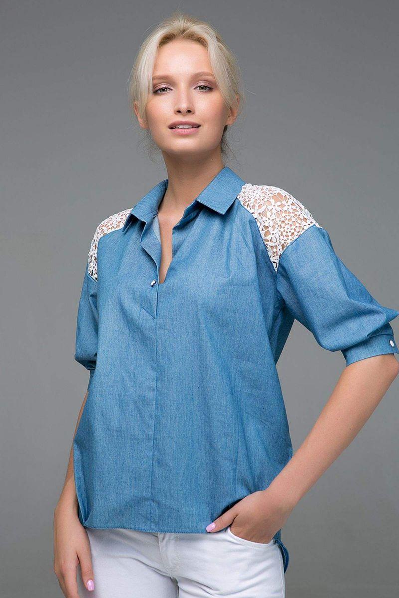 Джинсовая рубашка с кружевом LILU голубая 00-13383 - Victorya-Shop.com
