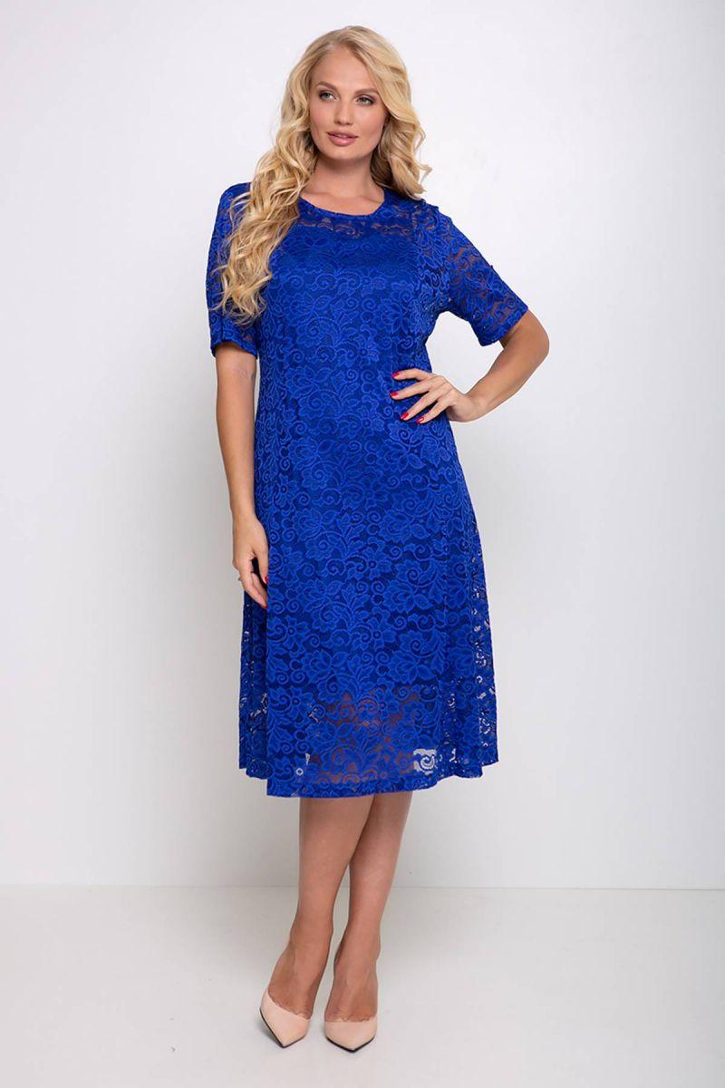 Гипюровое платье с чехлом ИВОНА электрик 00-1337514 - Victorya-Shop.com