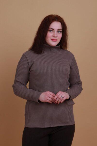 Гольф женский большого размера из люксового трикотажа рубчик Валентино  000-391 - Victorya-Shop.com