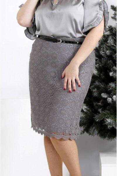 Юбка с макраме серый  00-1337475 - Victorya-Shop.com