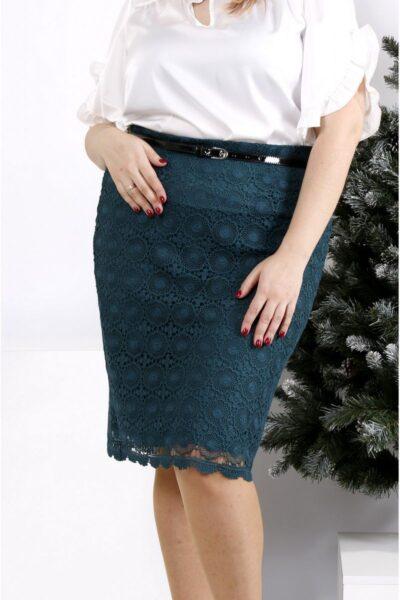 Юбка с макраме зеленый  00-1337476 - Victorya-Shop.com