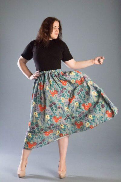 Юбка женская большого размера трапеция серый 000-548 - Victorya-Shop.com