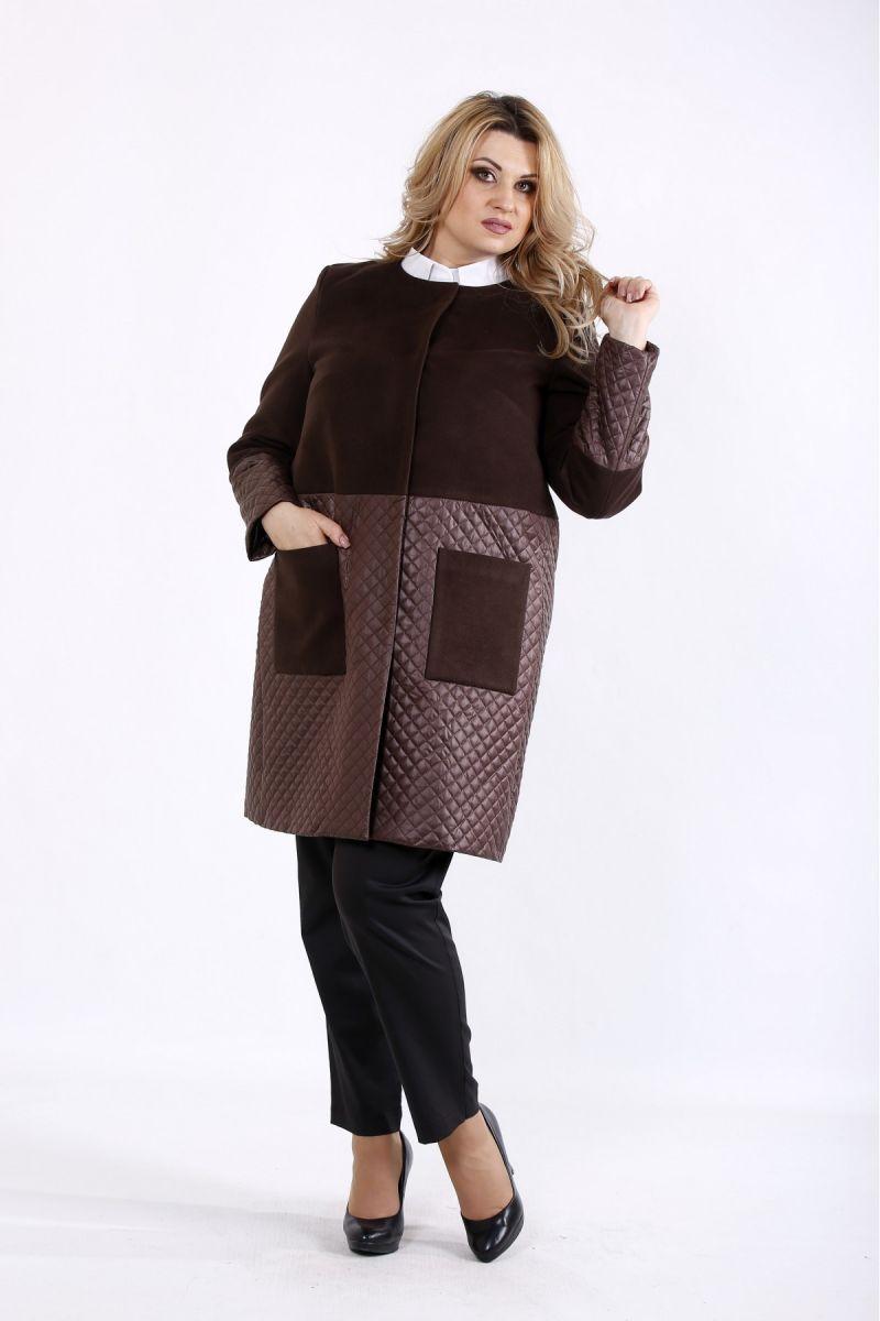 Комбинированное пальто коричневый   00-133713 - Victorya-Shop.com