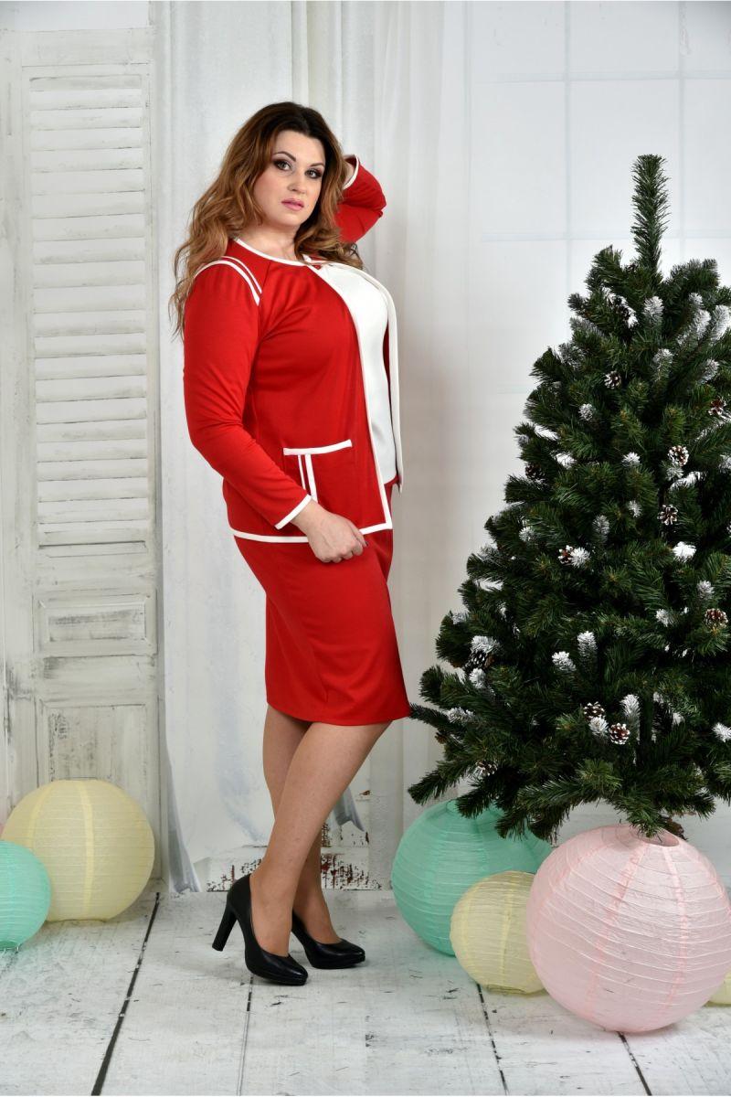 Костюм Красный жакет + Красная юбка 00-1337448 - Victorya-Shop.com