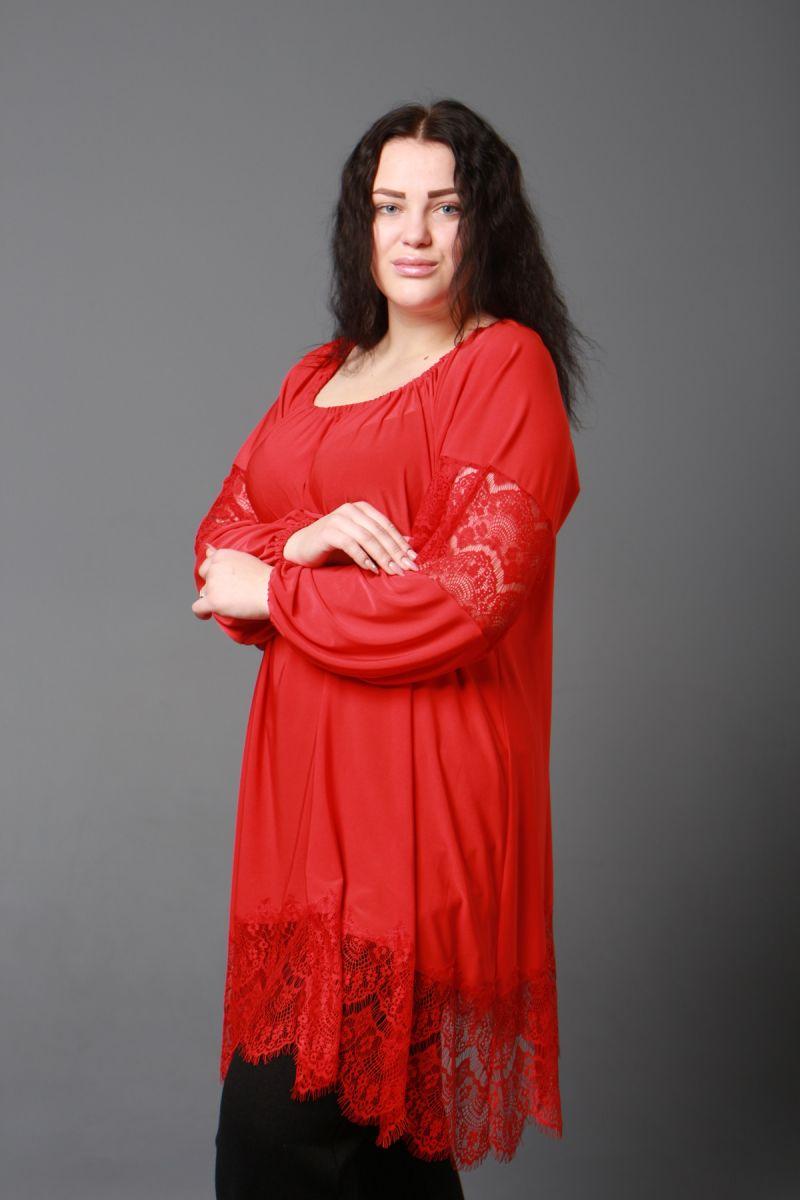 Красивая туника большого размера Шик красный доступна в цвете 000-591 - Victorya-Shop.com