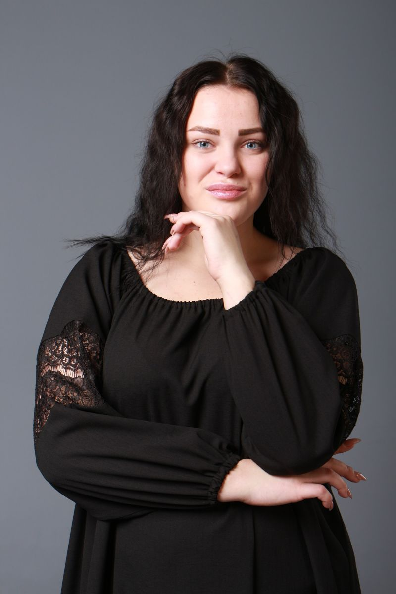 Красивая туника большого размера Шик черный  000-593 - Victorya-Shop.com