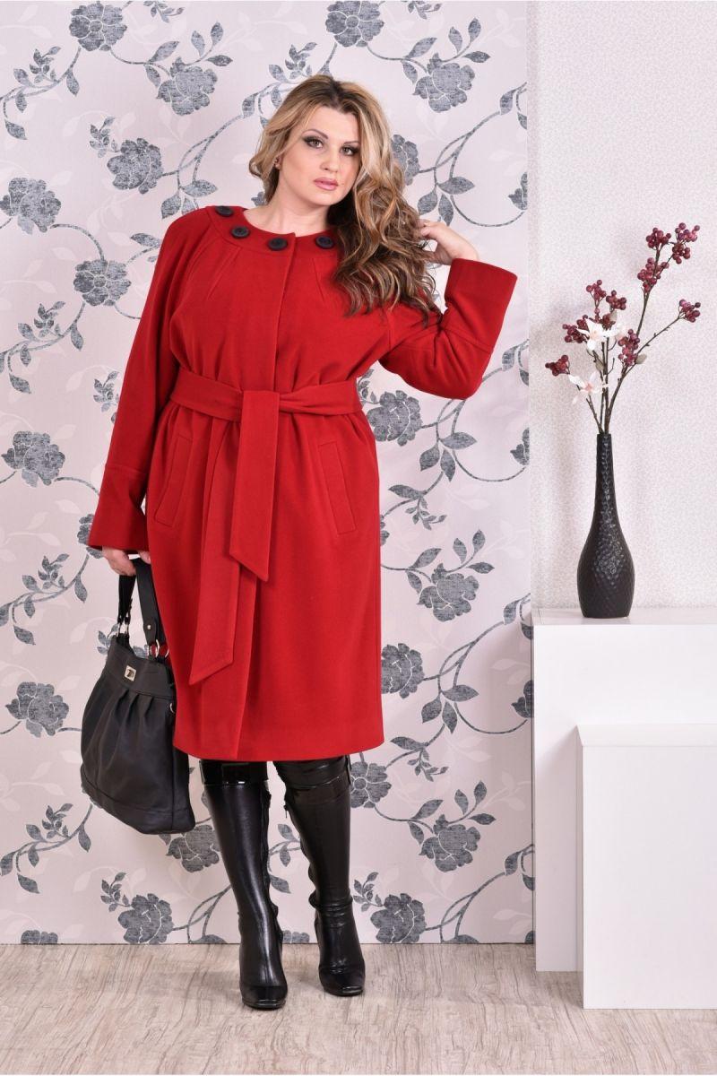 Красное пальто классического кроя 00-133733 - Victorya-Shop.com