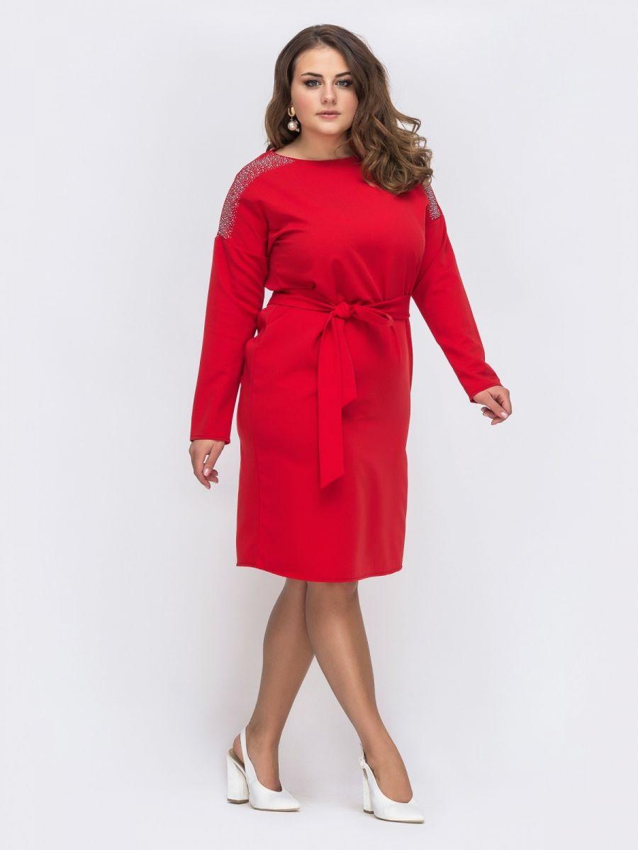 Красное платье большого размера со стразами  000-357 - Victorya-Shop.com