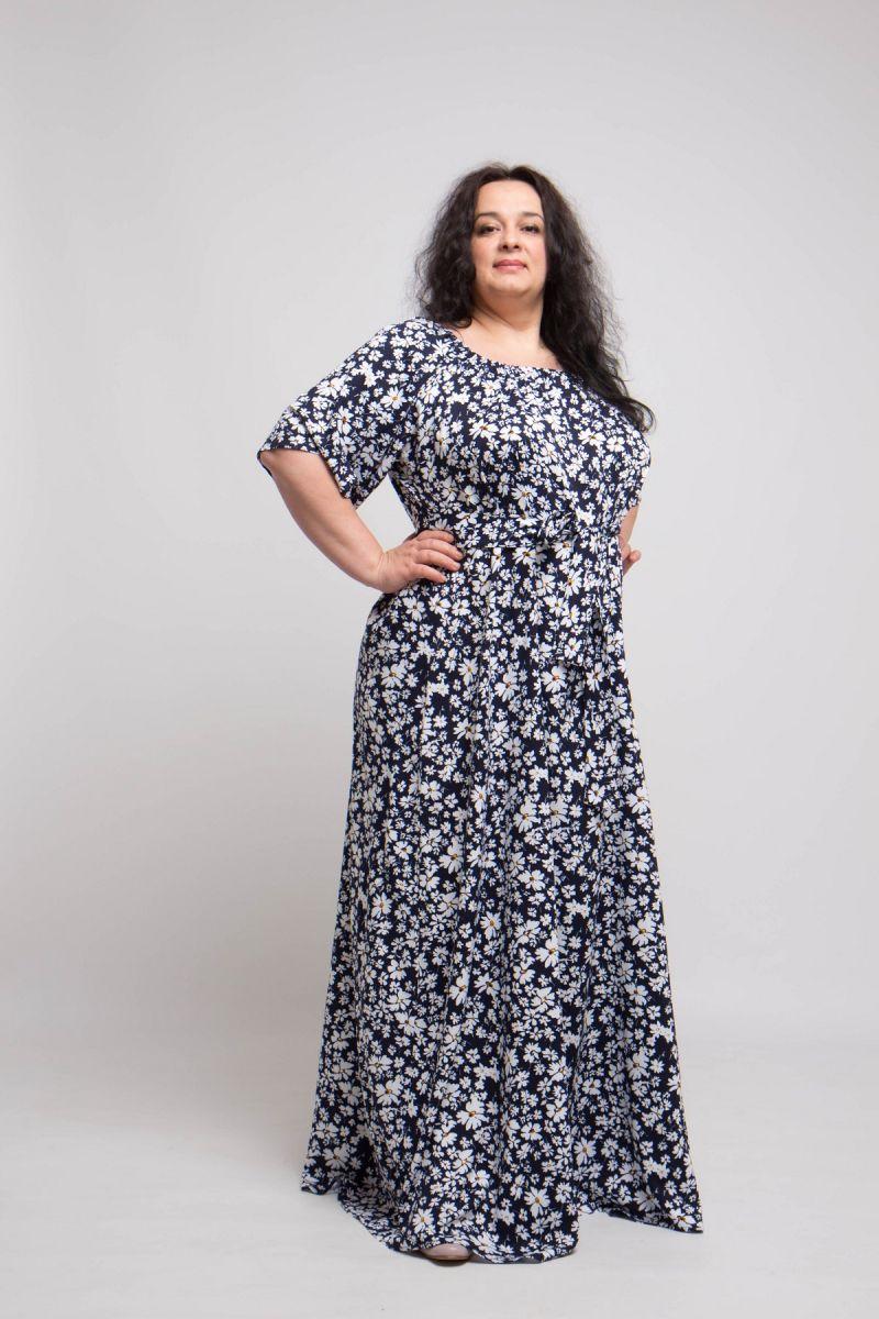 Легкое летнее платье из натуральной ткани большого размера доступно в цвете 000-709 - Victorya-Shop.com