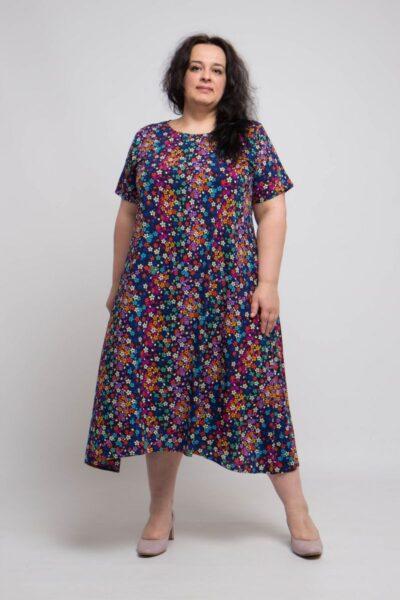 Летнее легкое платье большого размера ИЗ ЛЕГКОЙ ТКАНИ КРЕПДЕШИН 000-492 - Victorya-Shop.com