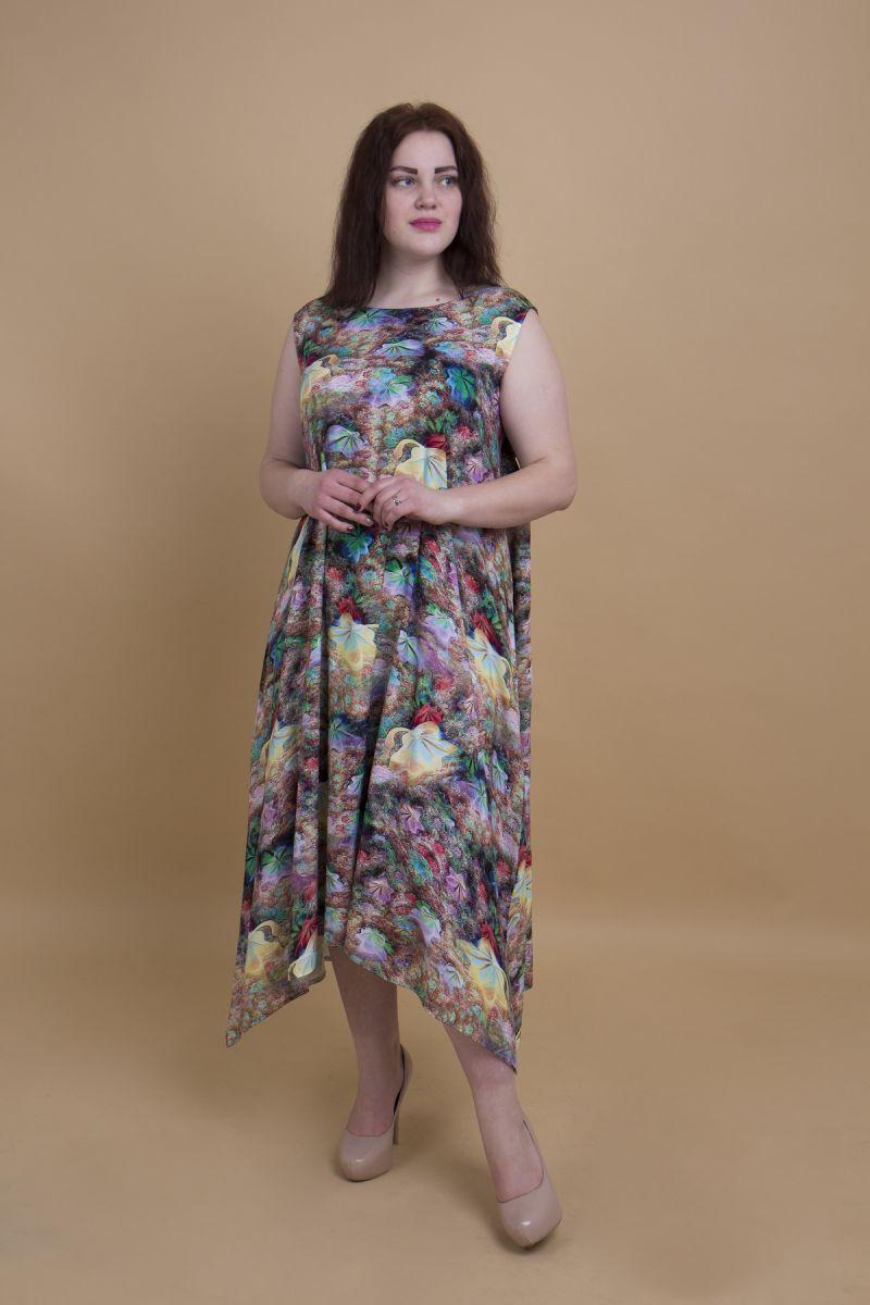 Летнее платье большого размера из натуральной ткани с асимметричным низом  доступно в цвете 000-444 - Victorya-Shop.com