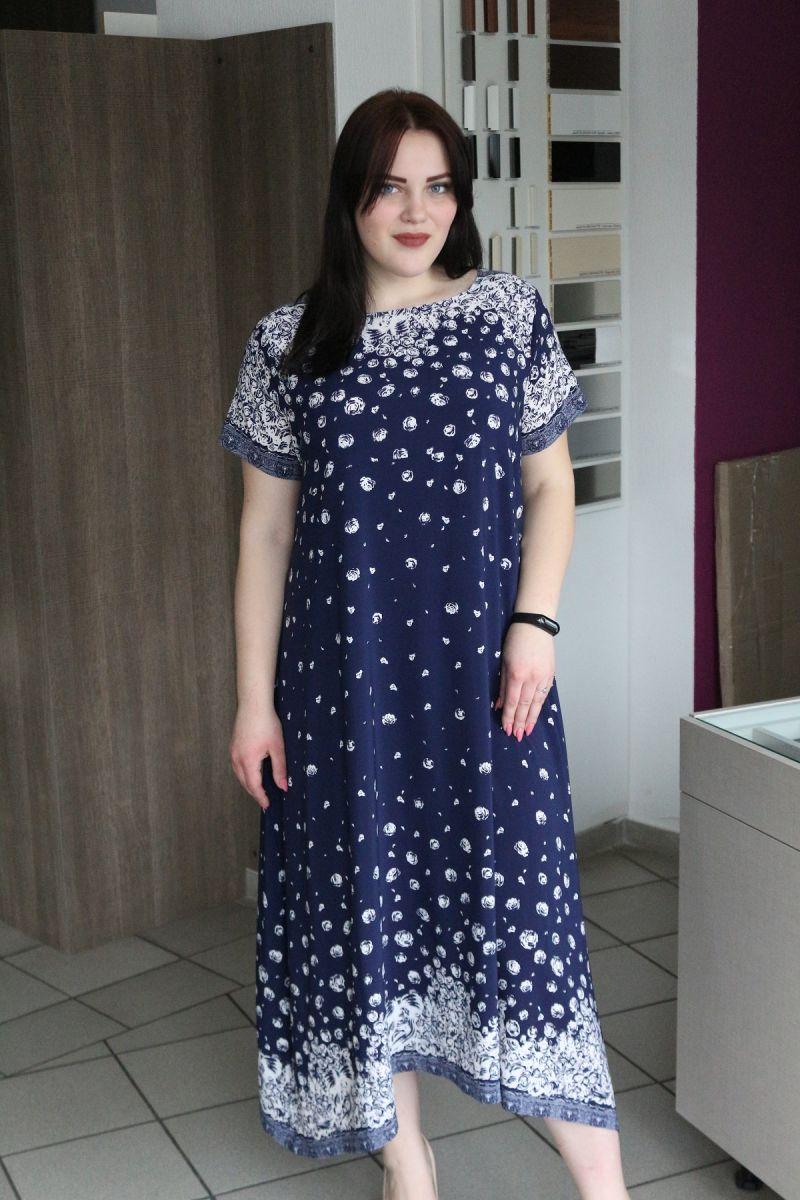 Летнее платье большого размера из шелкового крепа Лола 00-133362 - Victorya-Shop.com