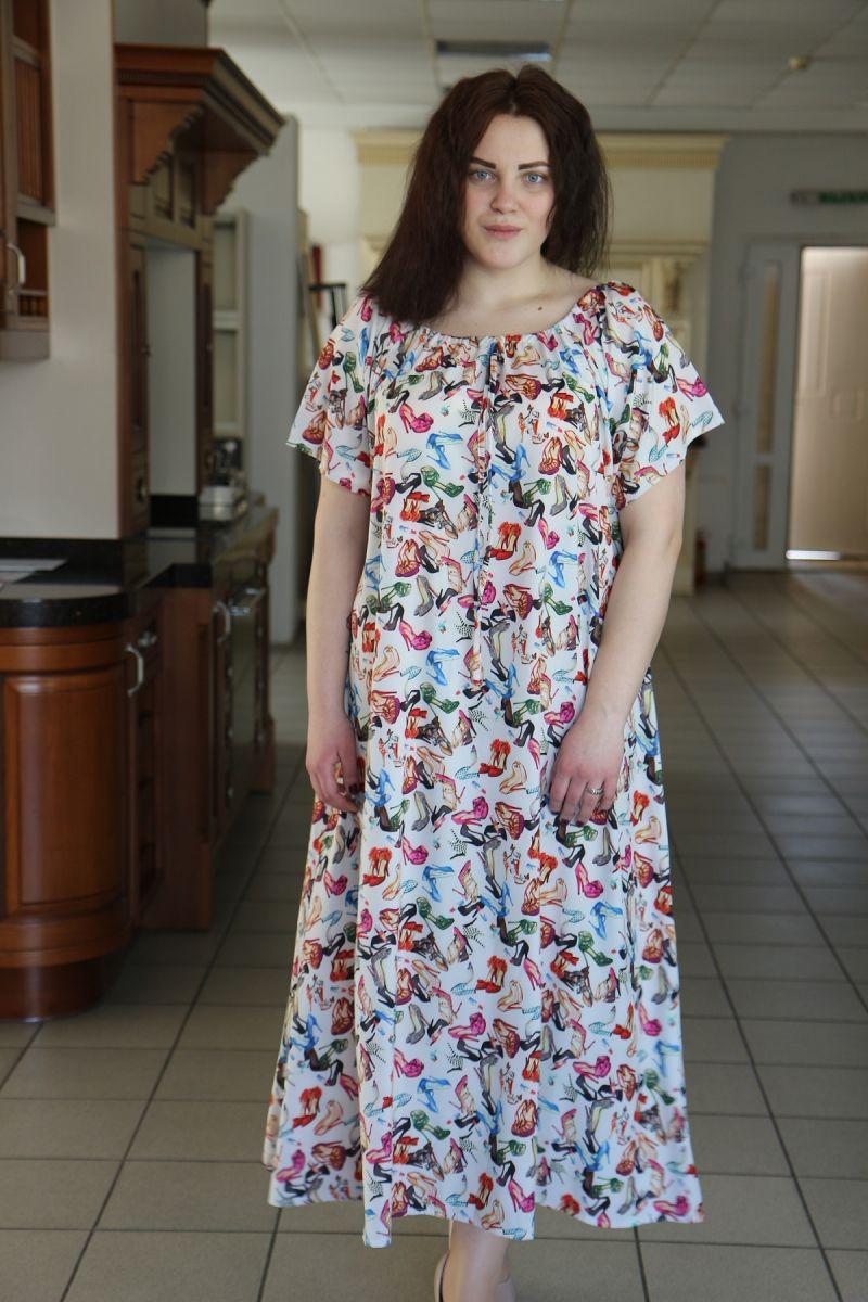 Летнее платье большого размера реглан из легкой ткани крепдешина доступно в цвете   000-487 - Victorya-Shop.com