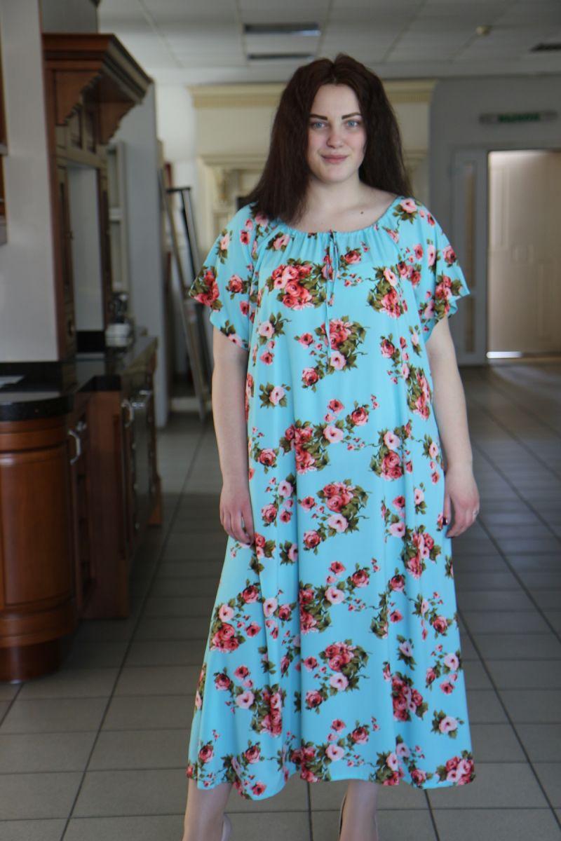 Летнее платье большого размера реглан из легкой ткани крепдешина доступно в цвете   000-488 - Victorya-Shop.com