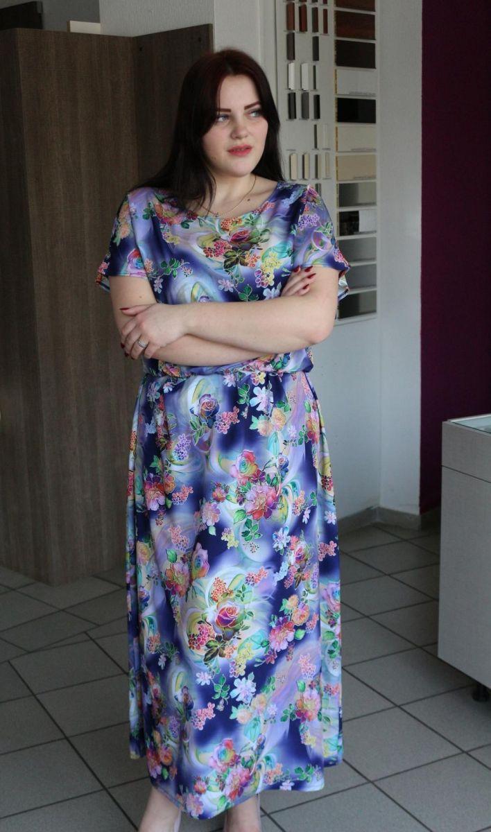 Летнее платье большого размера замена основного цвета 000-522 - Victorya-Shop.com
