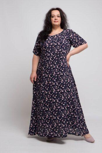 Летнее  платье в цветочный принт из натуральной ткани 000-551 - Victorya-Shop.com