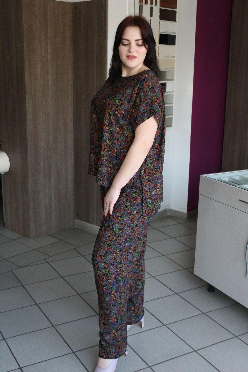 Летний костюм большого размера из натуральной ткани  Дора 00-916 Доступны цвета - Victorya-Shop.com