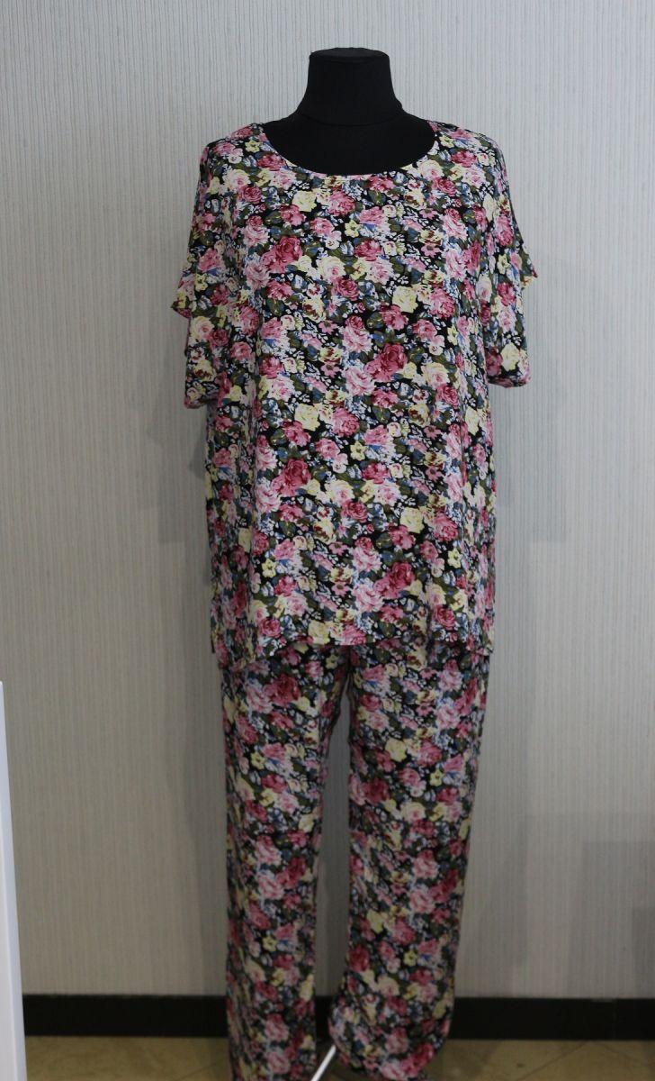 Летний костюм большого размера из натуральной ткани  Дора   Доступны цвета 00-13420 - Victorya-Shop.com