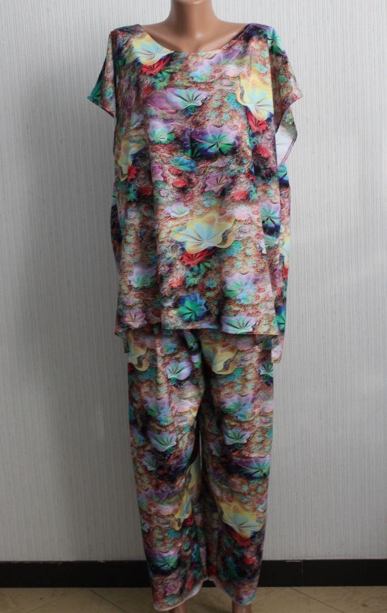 Летний костюм большого размера из натуральной ткани  Дора   Доступны цвета 00-13421 - Victorya-Shop.com