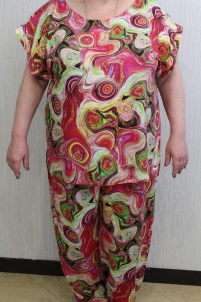 Летний костюм большого размера из натуральной ткани  Дора   Доступны цвета 00-13422 - Victorya-Shop.com