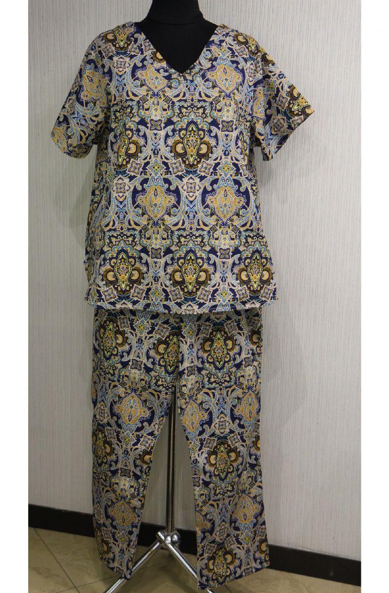 Летний костюм в турецком стиле большого размера из натуральной ткани 000-543 - Victorya-Shop.com