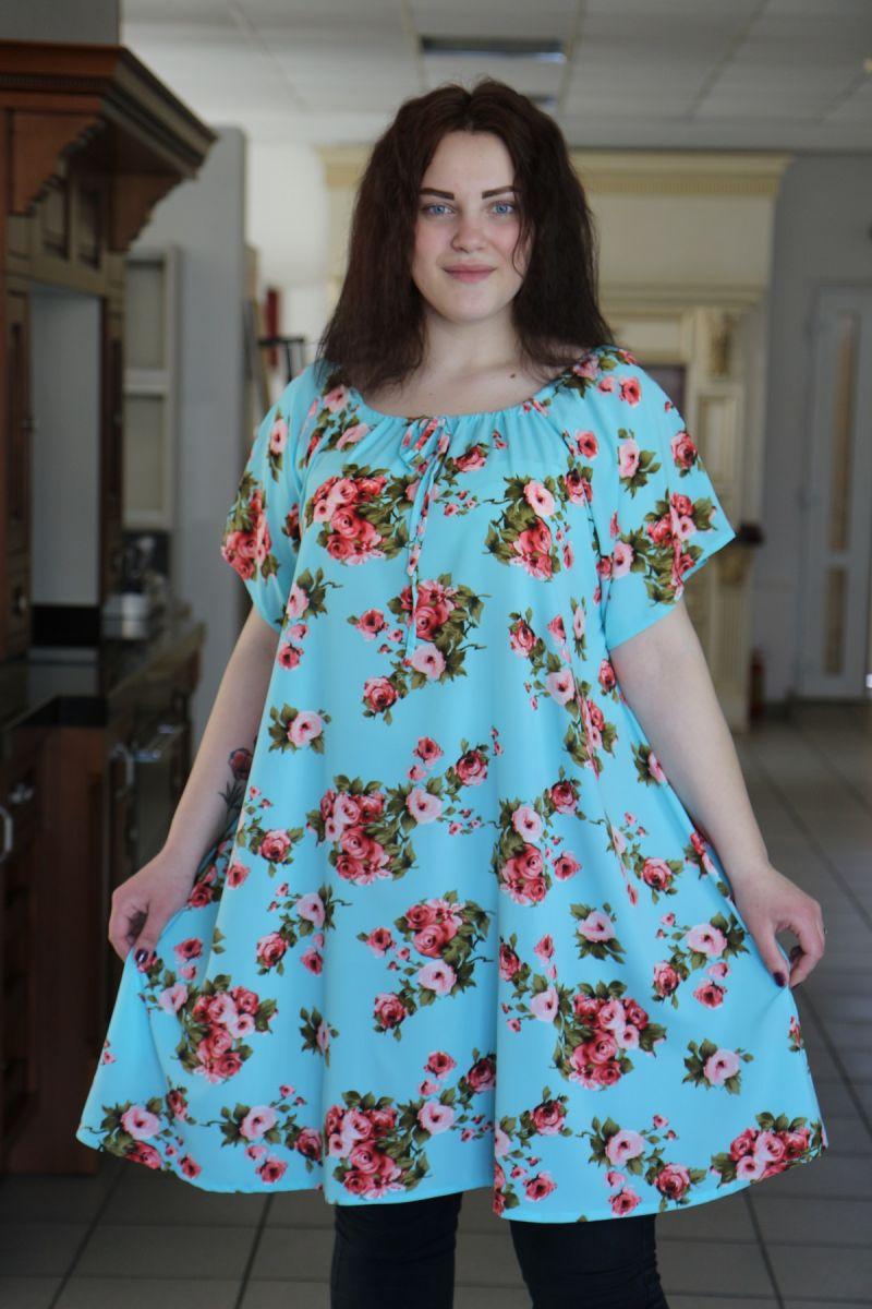 Летняя туника большого размера реглан из легкой ткани крепдешина доступно в цвете   000-486 - Victorya-Shop.com