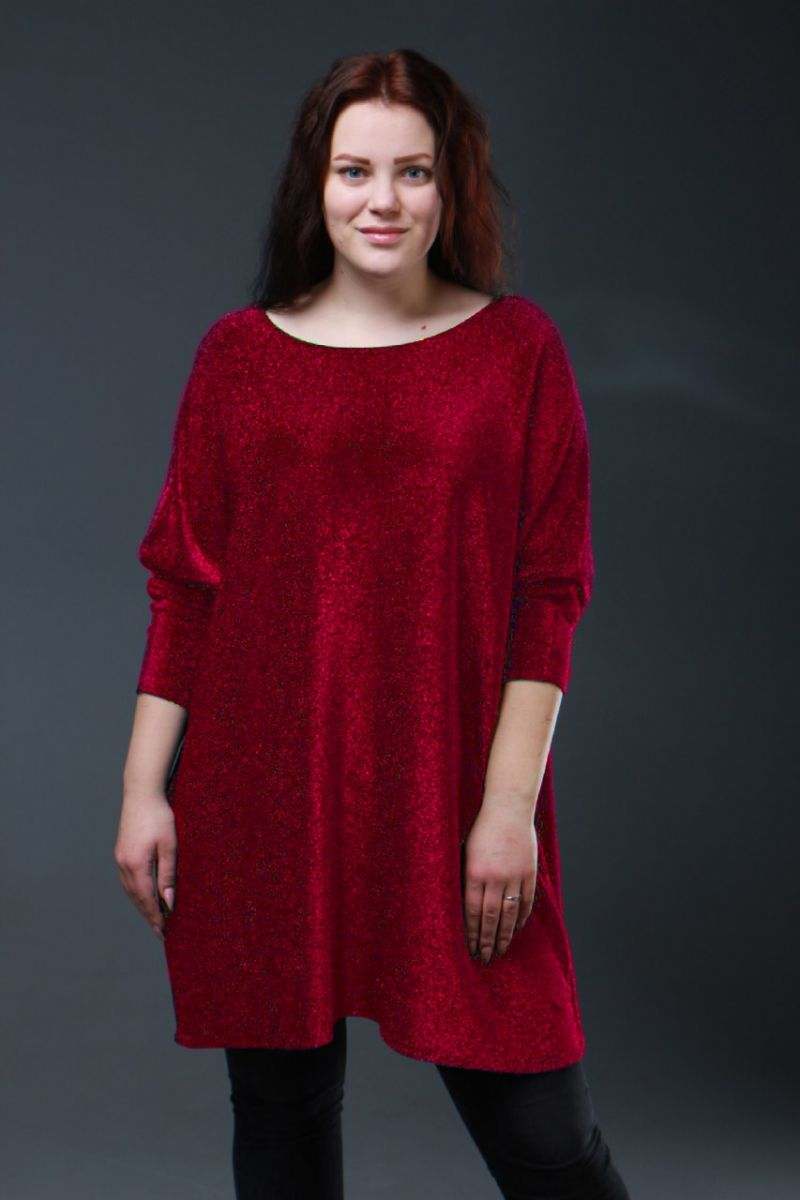 Нарядная туника большого размера люрекс шимер Милана красный 000-614 - Victorya-Shop.com
