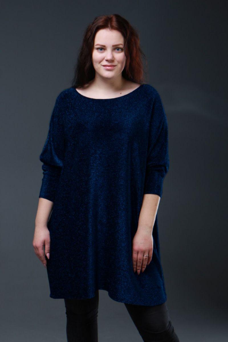 Нарядная туника большого размера люрекс шимер Милана синий  000-615 - Victorya-Shop.com
