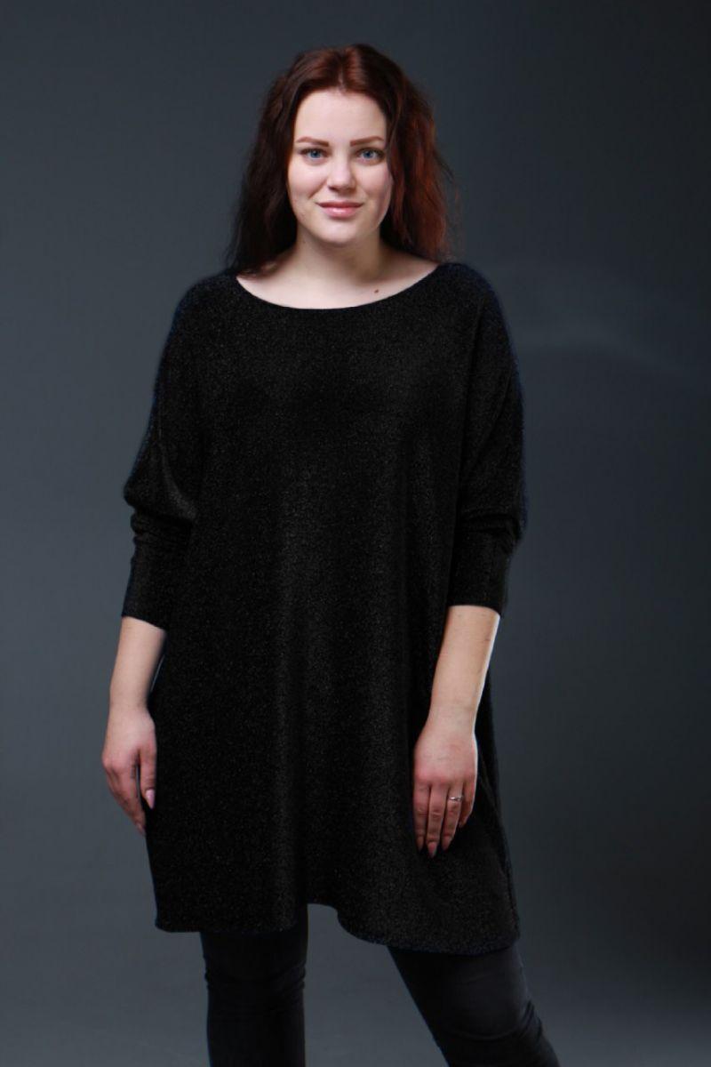 Нарядная туника большого размера люрекс шимер Милана черный  000-617 - Victorya-Shop.com