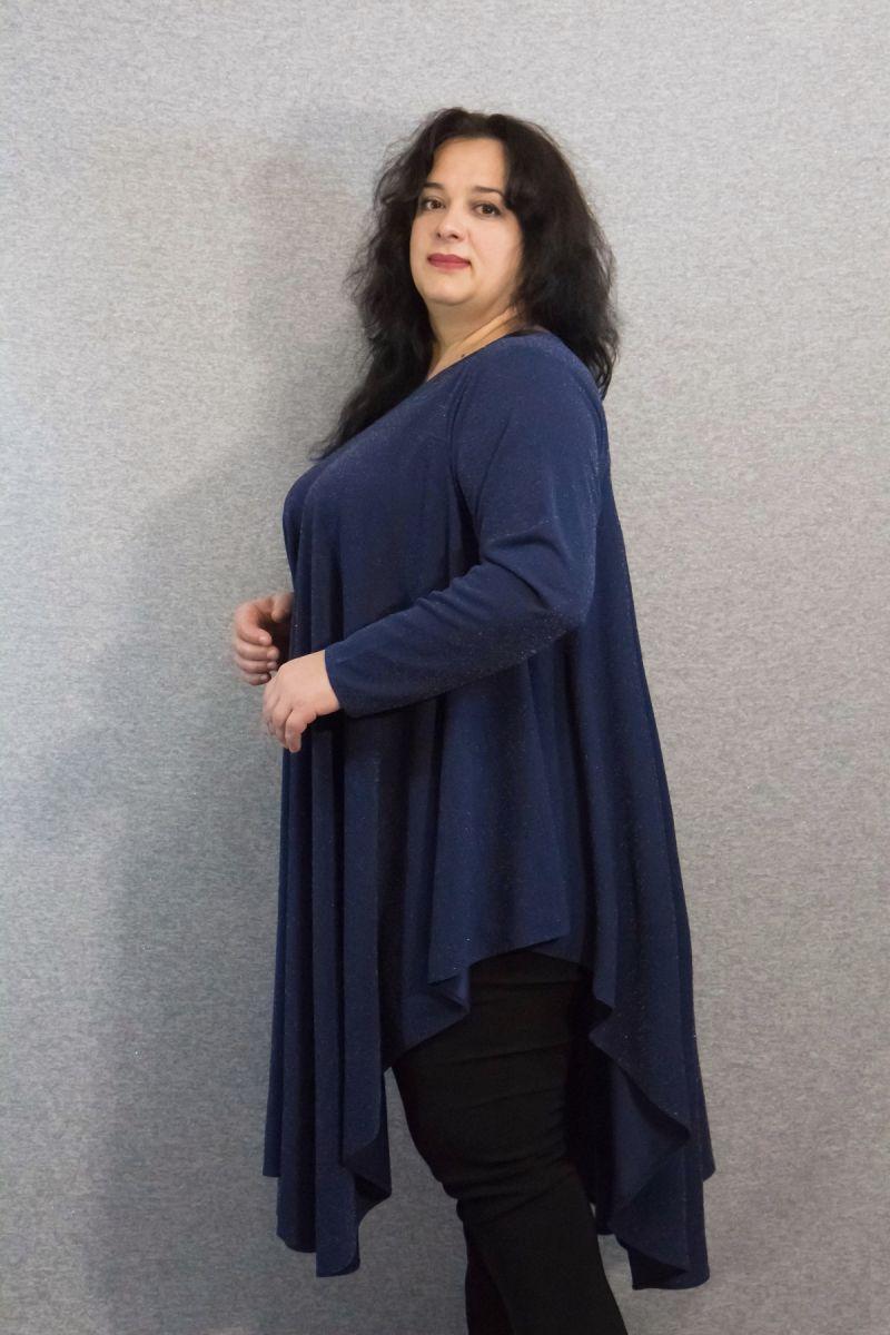 Нарядная туника большого размера с люрексом Луи синий 000-617 - Victorya-Shop.com