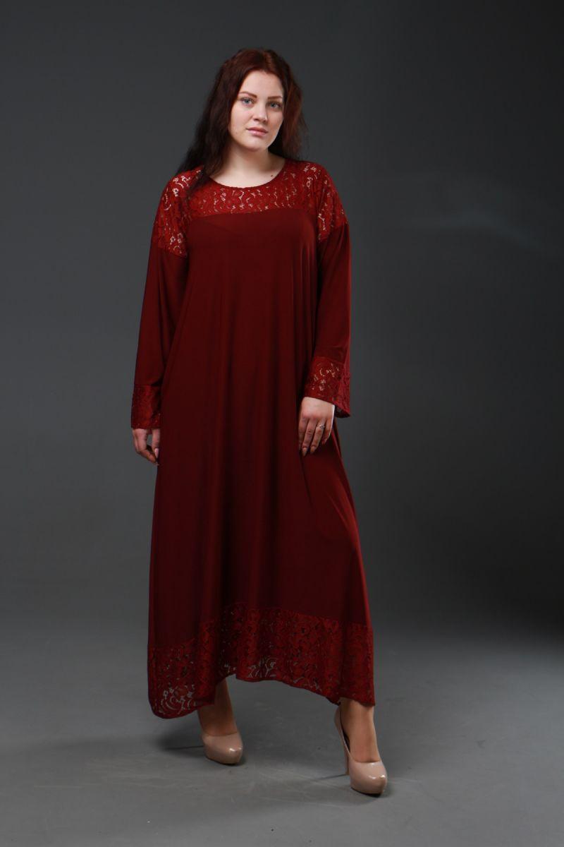 Нарядное платье для полных  Афина марсала 000-339 - Victorya-Shop.com