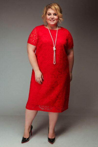 Нарядное платье из гипюра для полных  доступно в цвете 00-843 - Victorya-Shop.com
