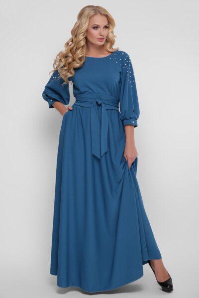 Нарядное платье в пол Вивьен бирюза 00-13331 - Victorya-Shop.com