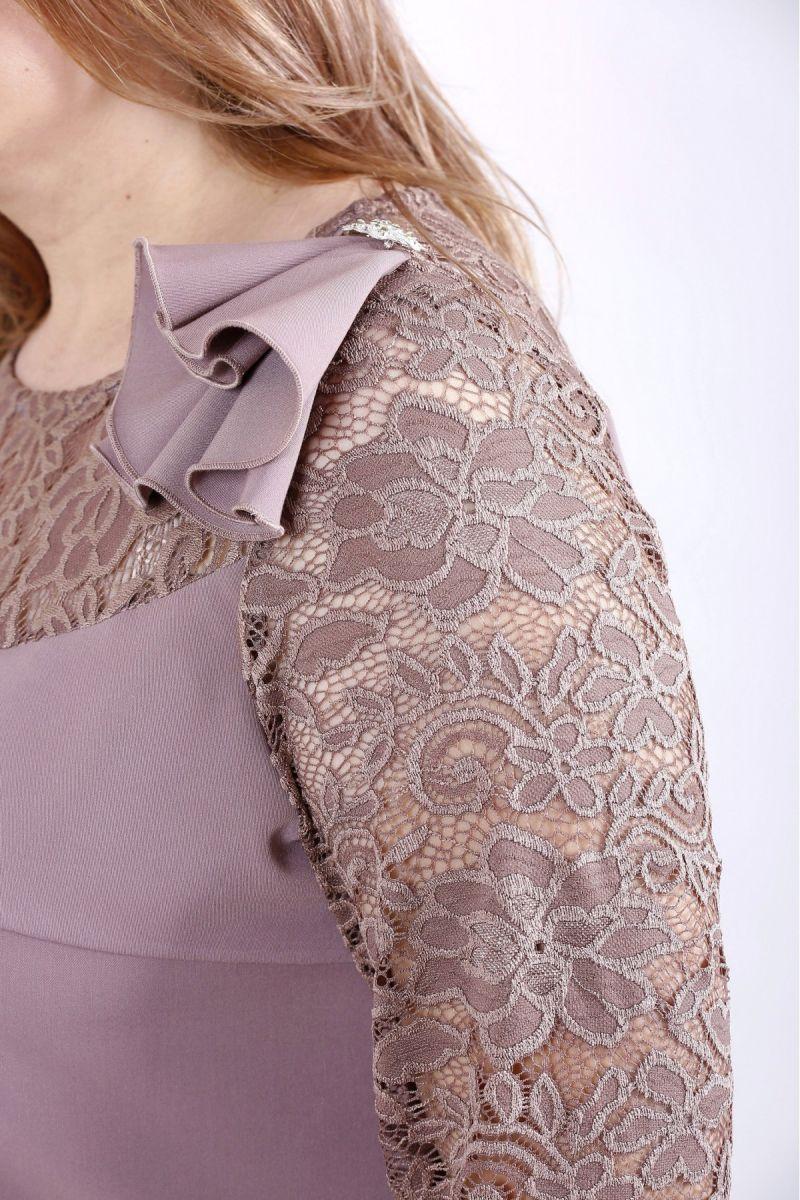 Нарядный костюм большого размера бисквит 00-133684 - Victorya-Shop.com